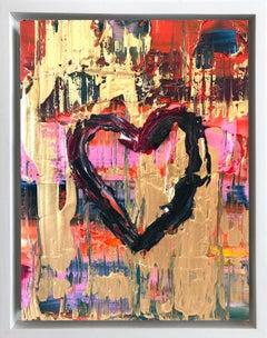 """""""My Raspberry Chocolate Heart"""" Contemporary Oil Painting Framed w Floater Frame"""