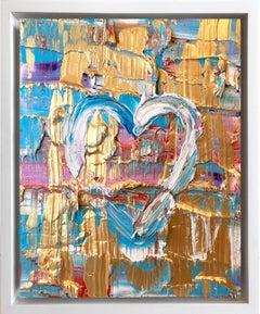 """My Raspberry Crush Heart"" Contemporary Oil Painting Framed w Floater Frame"