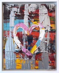 """""""My Raspberry Sunset Heart"""" Contemporary Multicolored and Silver Oil Painting"""