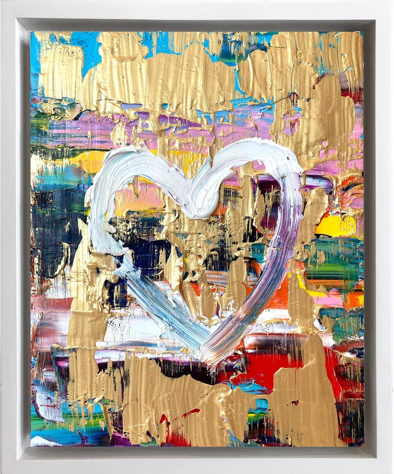 """Cindy Shaoul Abstract Painting - """"My Renaissance Heart"""" Contemporary Oil Painting Framed w Floater Frame"""