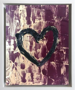 """""""My Ruby Gold Heart"""" Contemporary Oil Painting Framed w Floater Frame"""