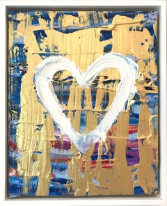 """""""My Sapphire Sunset Heart"""" Contemporary Multicolored and Gold Oil Painting"""