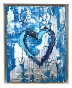 """""""My Silver Blue Heart"""" Contemporary Multicolored and Silver Oil Painting"""