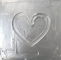 """""""My Silver Heart"""" Contemporary Silver Oil Painting on Canvas"""