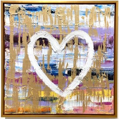 """""""My Sky is the Limit Heart"""" Contemporary Oil Painting on Canvas with Gold Frame"""