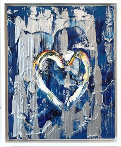 """""""My Steely Blue Heart"""" Contemporary Multicolored and Silver Oil Painting"""