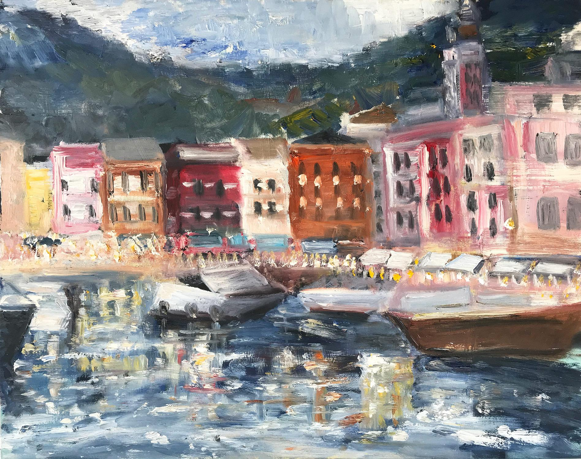 """My Sweet Escape"" Boats Docked at Portofino Impressionist Oil Painting on Panel"