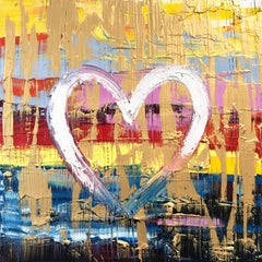 """""""My Tropicana Heart"""" Contemporary Multicolor Gold Oil Painting on Canvas"""