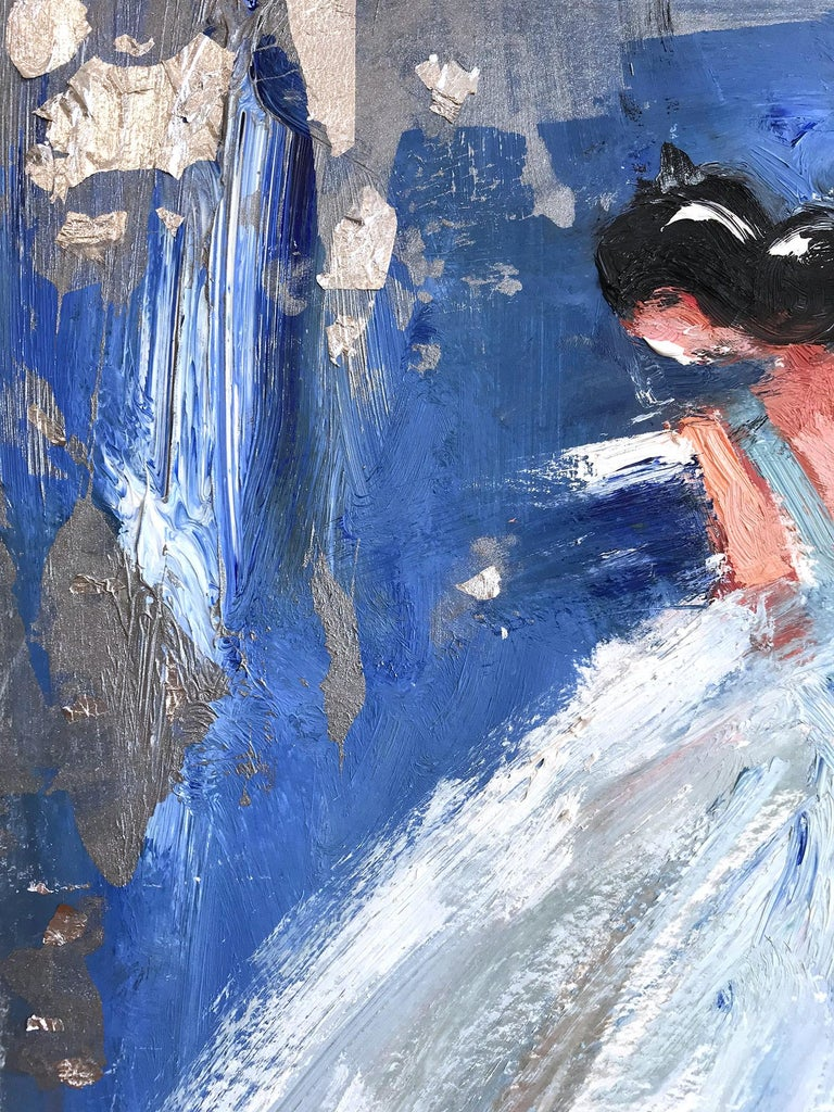 Nina, Abstract Figure on Paper - Silver Figurative Painting by Cindy Shaoul