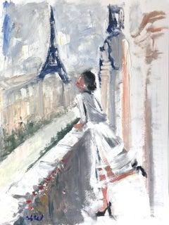 """""""Nora in Paris"""" Oil Painting on Paper Figure Haute Couture by Eiffel Tower"""