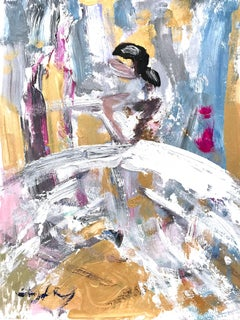 """""""Olympia"""" Abstract Figure with Gown French Haute Couture Oil Painting on Paper"""