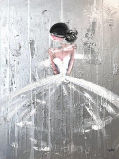 """""""Olympia"""" Figure with Gown French Haute Couture Silver Oil Painting on Canvas"""