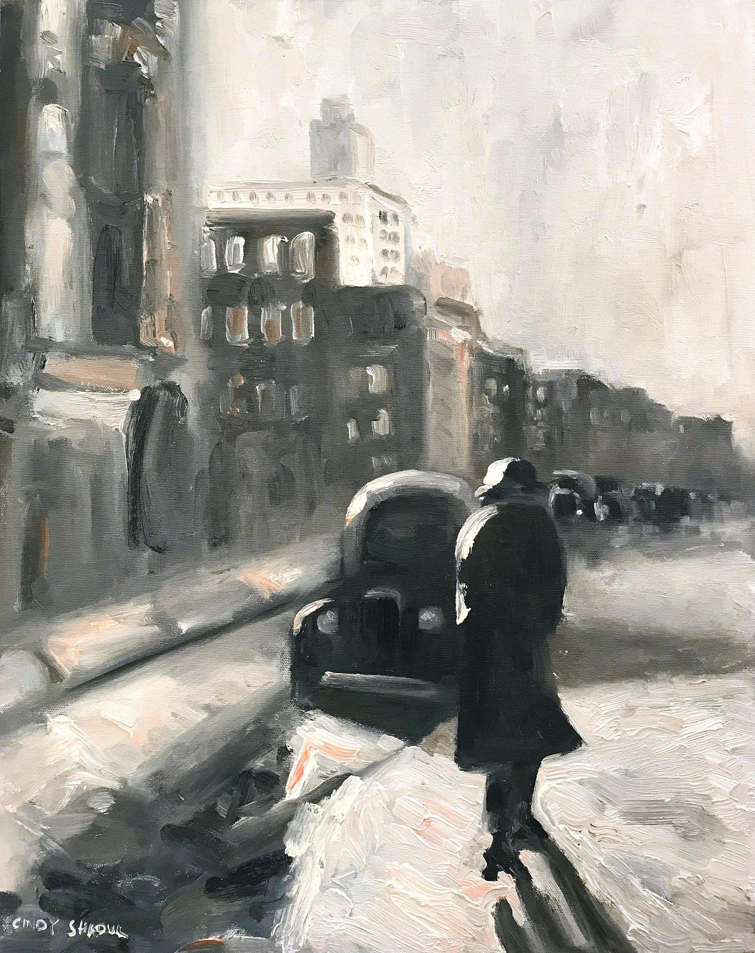 """On the Way to Work"" Impressionist Winter Street Scene Oil Painting on Panel"