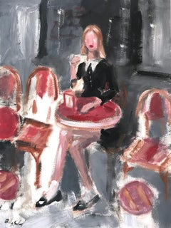 """Paris Cafe"" Figure wearing Chanel Drinking Coffee France Oil Painting on Paper"