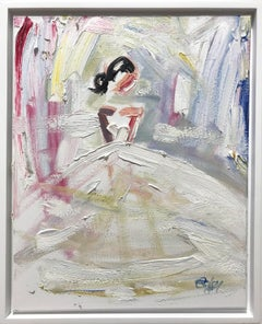 """""""Paris Days """" Figure in Chanel Dress French Haute Couture Oil Painting on Canvas"""