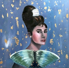 Paris is Always a Good Idea, Audrey Hepburn and Butterfly, Abstract Oil Painting