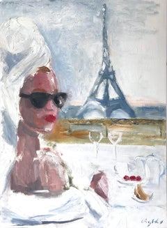 """""""Paris is For Lovers"""" Oil Painting on Paper Breakfast by Eiffel Tower and Coffee"""