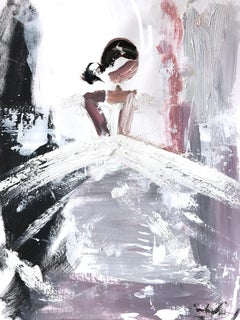 """""""Pixie"""" Abstract Figure with Gown French Haute Couture Oil Painting on Paper"""