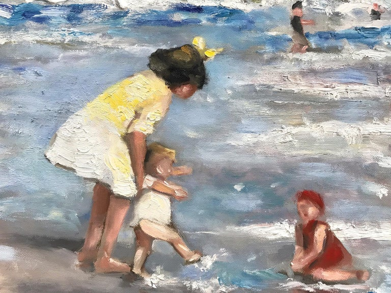 This painting depicts an impressionistic scene at the beach with beautiful brushwork and whimsical colors. The work is a following of Edward Potthast, capturing the beach and times of the early 20th Century similarly to his work. This piece is