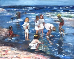 """Playing at the Beach"" Impressionistic Beach Scene Oil Painting on Panel"