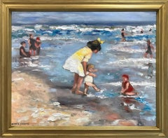 """Playing at the Beach"" Impressionistic Beach Scene Oil Painting on Canvas"