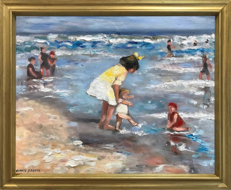 "Cindy Shaoul Figurative Painting - ""Playing at the Beach"" Impressionistic Beach Scene Oil Painting on Canvas"