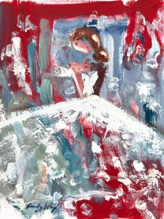 """""""Pricilla"""" Abstract Figure with Gown French Haute Couture Oil Painting on Paper"""