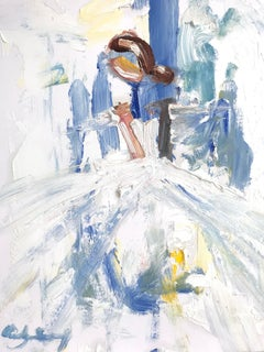 """""""Rafita"""" Abstract Figure with Gown French Haute Couture Oil Painting on Paper"""