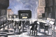 """Rain in Downtown New York"" Impressionist Ashcan School Style Street Scene"