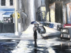 """""""Rain in Soho"""" Oil on Canvas Painting, Figure Walking in the Rain by The Dutch"""