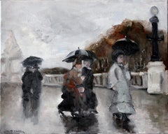 Rainy Day Stroll in Paris, Impressionist Street Scene