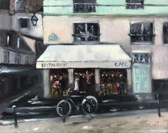 """Restaurant Cafe - Amsterdam"" Impressionist Street Scene Oil Painting on Panel"