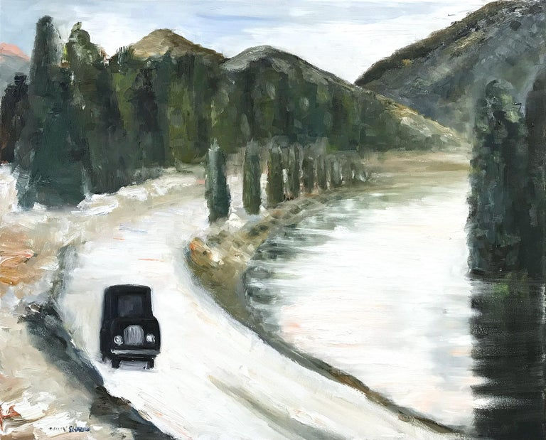 """Cindy Shaoul Landscape Painting - """"Ride Home around the Lake"""" Impressionistic Oil Painting on Canvas Ashcan School"""