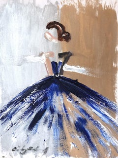 """Romee"" Figure with Gown French Haute Couture Oil Painting on Paper"
