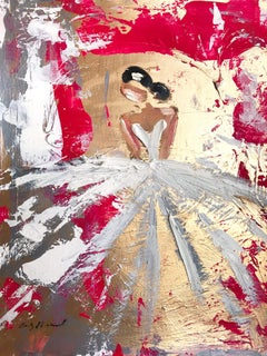 """""""Rosa"""" Abstract Figure with Gown French Haute Couture Oil Painting on Paper"""
