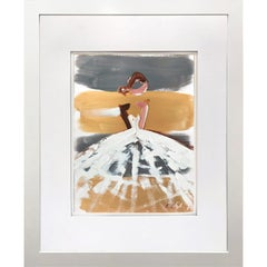 """""""Sammy"""" Abstract Figure with Gown French Haute Couture Oil Painting on Paper"""