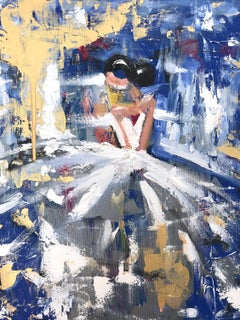 """Sapphire"" Abstract Figure with Gown French Haute Couture Oil Painting on Canvas"