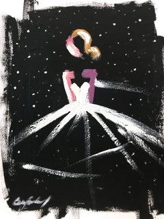 """""""Sky Full of Stars"""" Figure wearing Chanel in Paris Oil Painting on Paper"""