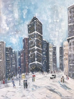 """Snow by Flatiron"" Impressionist Oil Painting Snow Scene Style of Guy Wiggins"