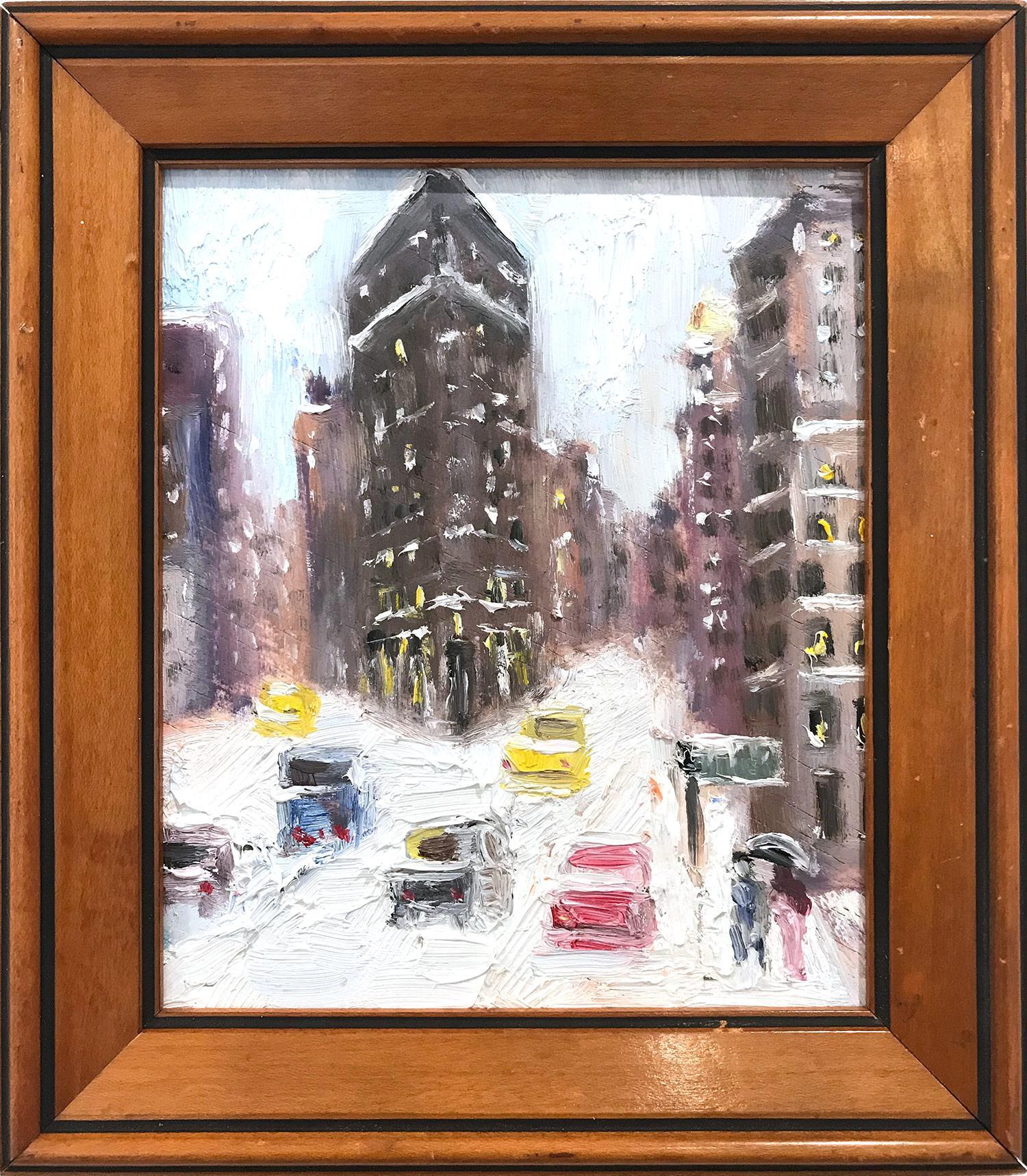 """Snow by Flatiron"" Impressionist Oil Painting Snow Scene Style of Guy Wiggins"