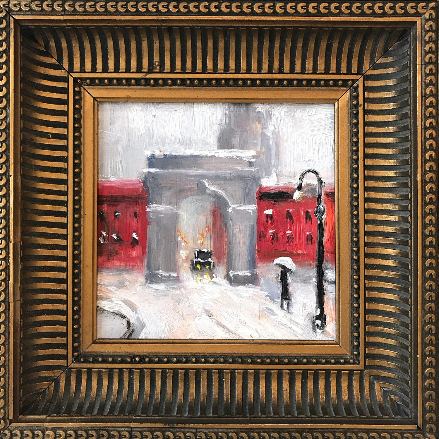 """""""Snow by Washington Square Park"""" Impressionist Oil Painting in Greenwich Village"""