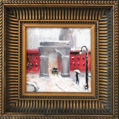 """Snow by Washington Square Park"" Impressionist Oil Painting in Greenwich Village"