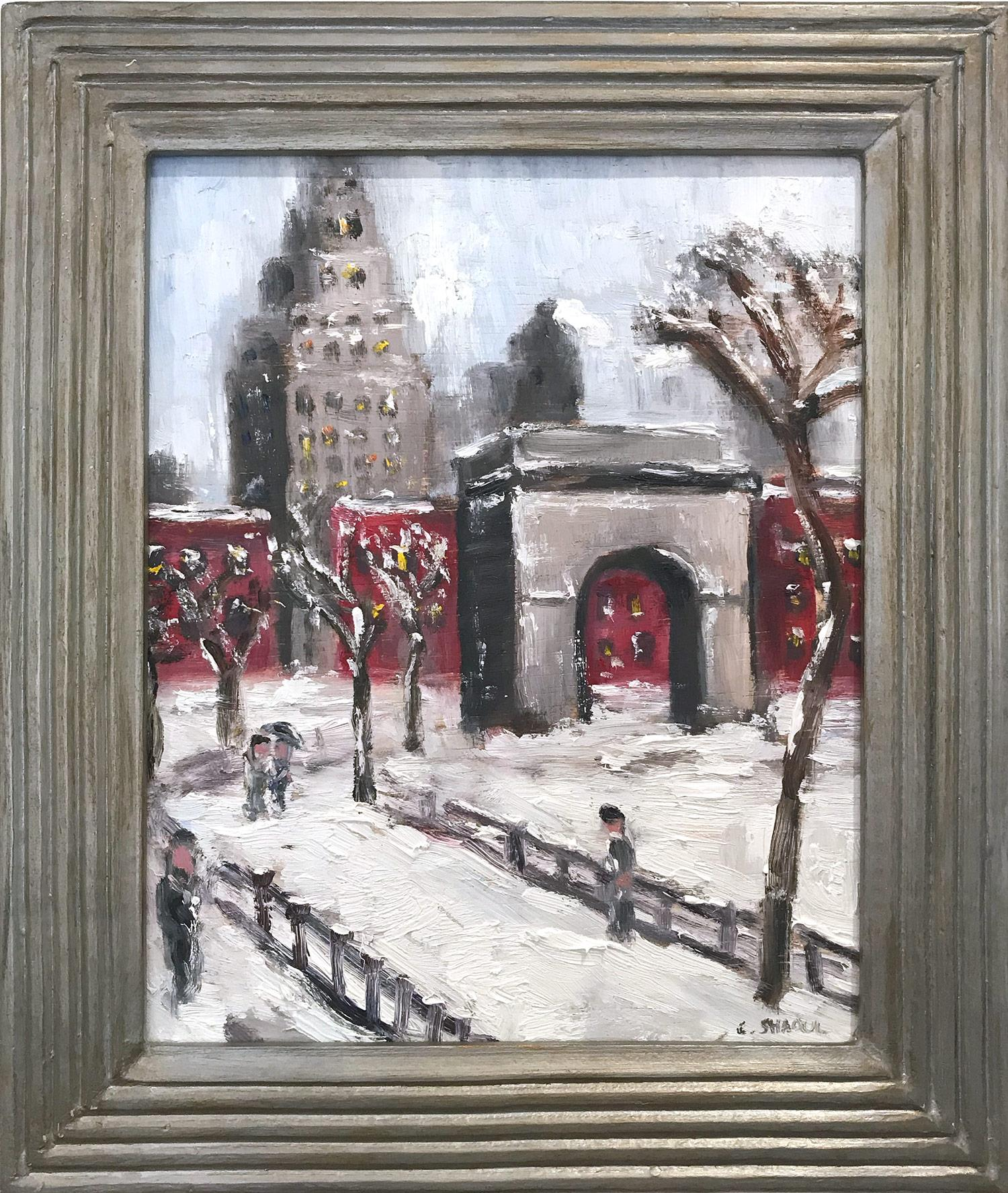 """Snow by Washington Square Park"" Impressionist Snow Scene Style of Guy Wiggins"