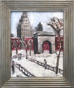 """Snow by Washington Square Park"" Impressionist Snow Scene Style of Guy Wiggins"