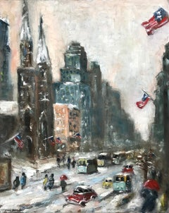 Snow in Downtown Wall Street, Impressionist Street Scene in style of Guy Wiggins