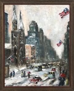 Snow in Downtown Wall Street, Impressionist Street Scene in style of Guy Wiggins