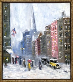 """Snow on 5th Avenue"" Impressionistic New York Snow Scene in style of Guy Wiggins"