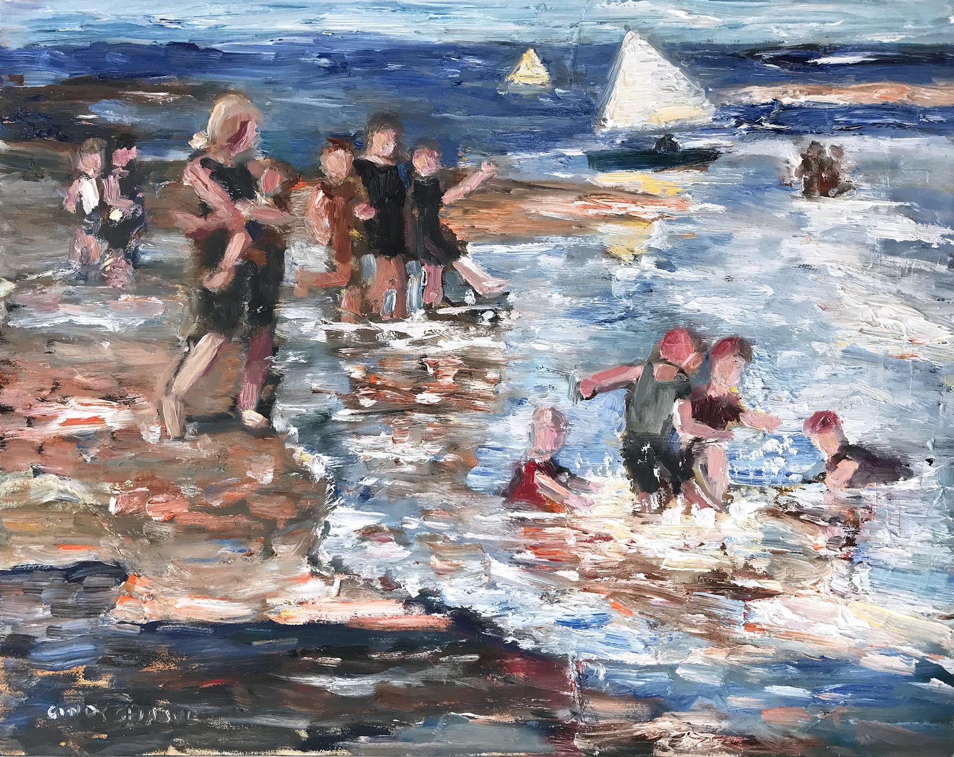 """Splashes at the Beach"" Impressionistic Beach Scene Oil Painting on Panel"