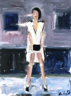"""Stella"" Figure Interior Scene of Figure Chanel Oil Painting on Paper"