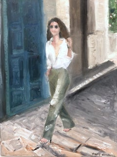 """""""Stepping Out, Barcelona"""" Impressionist Landscape Scene Oil Painting on Canvas"""